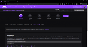 """Asset Hosting"" section of a Twitch Extension Console"