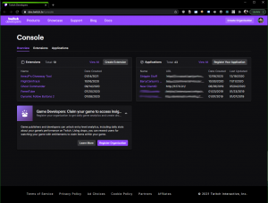 An example of the Twitch Developer Dashboard Overview